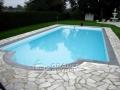 Pool mit römischer Treppe in Anthrazit und grünen Quarzit Polygonalplatten